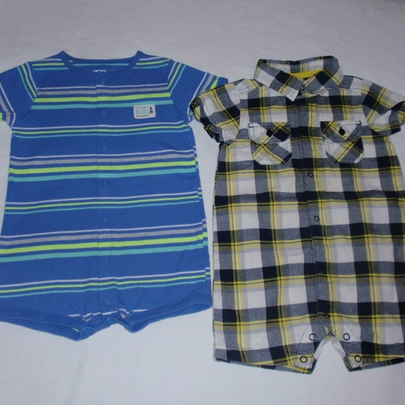 ff245885f Carter's Bottoms | Carters Boys Summer Rompers Striped Plaid 18m ...